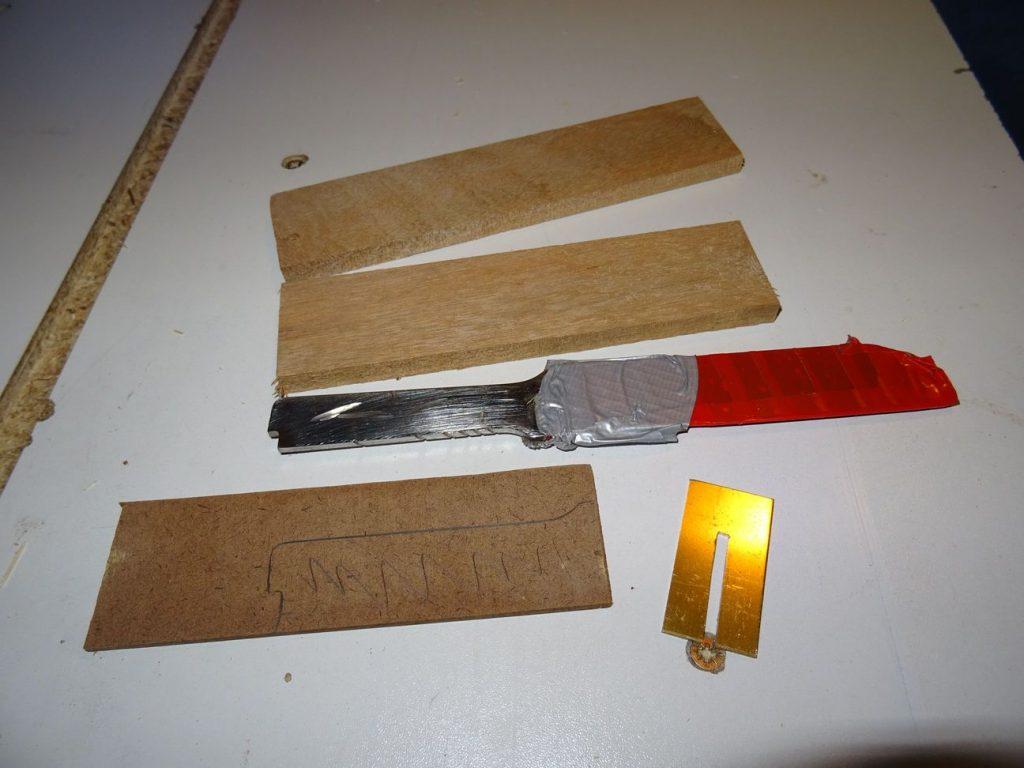 éléments manche couteau à lame fixe inox